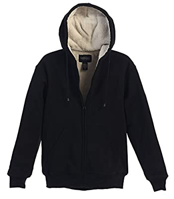 Gioberti Men Heavyweight Sherpa Lined Fleece Hoodie Jacket, Black, Large by China