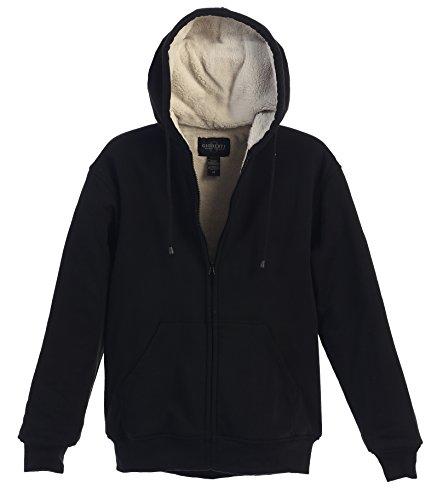 Gioberti Men Heavyweight Sherpa Lined Fleece Hoodie Jacket, Black, X Large