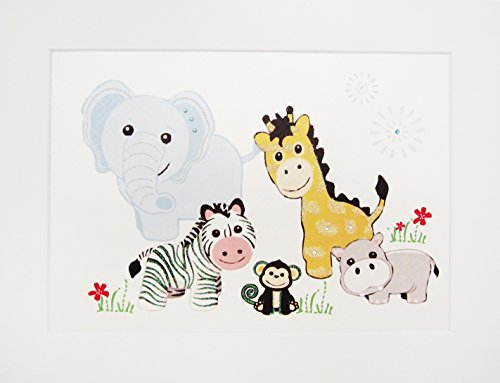 White Cotton Cards Baby & Kids Safari Animaux, Impression, Art Mural (Code PIC11)