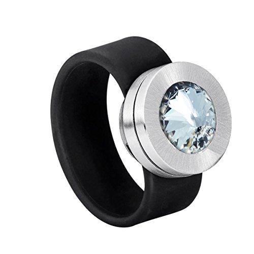 Heideman Ring Damen Colori schwarz aus Edelstahl silber farbend und schwarz Damenring für Frauen mit Stein Kristall