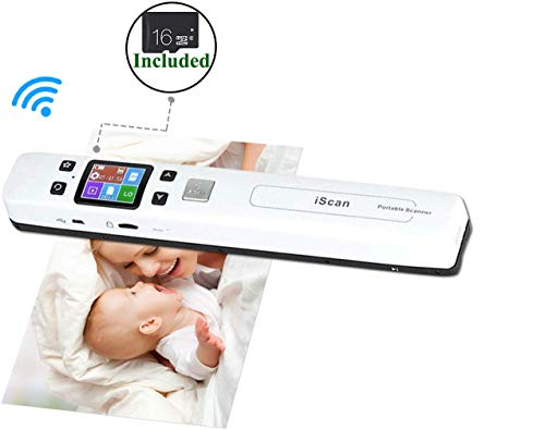 """WiFi Portable Scanners for Photo, Receipts, 1050 DPI, (16G Memory Card Included), Rechargeable, MUNBYN Photo Scanner for Phone. 8.27"""" Width of Scanning. 3 Resolutions Modes/2 Scanning Modes."""