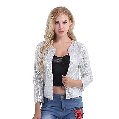 ACSUSS Fashion Women's Shiny Sequin Long Sleeve Cropped Blazer Bolero Shrug Tops Silver Medium from ACSUSS