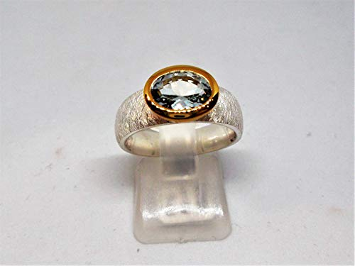 Ring Aquamarin 925 Gelbgold