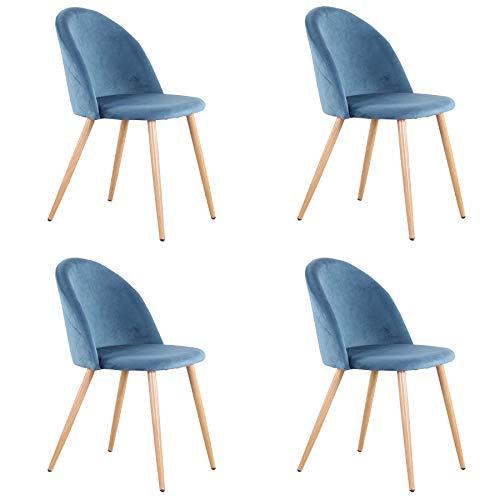 Uderkiny Juego de 2/4/6 sillas Silla de Comedor de Terciopelo con Respaldo, Apto para Cocina salón Comedor Dormitorio (Azul-4)