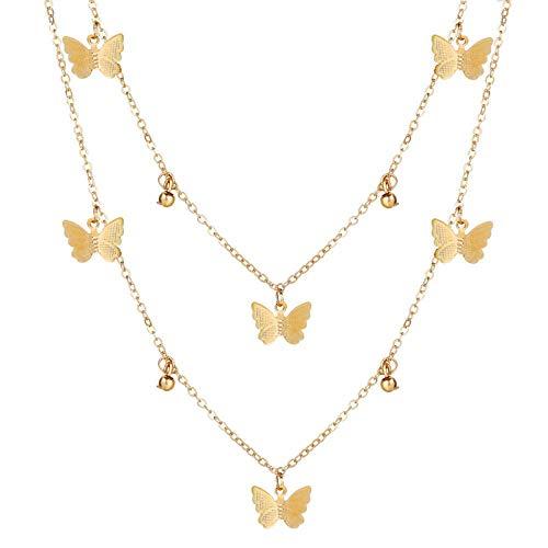 Collares Colgante Joyas Gargantilla De Mariposa Bohemia Bonita para Mujer, Cadena De Clavícula De Color Dorado Y Plateado, Gargantilla Femenina De Moda, Joyería-43528