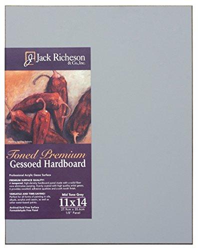 Jack Richeson Gessoed Gessoed - Tablero rígido (0,63 x 35,5 cm, 28 x 35,5 cm), Color Gris
