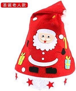 asdfkong Sombrero De Navidad Hecho A Mano Bricolaje Papá Noel Gorro De Dibujos Animados No Tejido para Niños Material Tamaño del Paquete: 33X28Cm