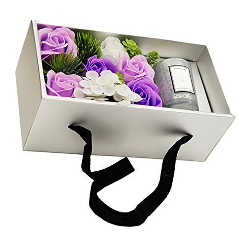Amosfun bougies d'aromathérapie avec coffret cadeau de savon rose de bain parfumé pour fiançailles anniversaire mariage anniversaire valentine (argent)