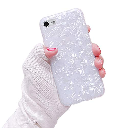 Dailylux iPod Touch 6 Case,iPod Touch 5 Case,iPod Touch 7 Case Cute Phone Case for Girls Women Glitter Pretty Desigh Protective Slim Shockproof Pearly-lustre Shell Bumper Soft Silicone TPU Cover White