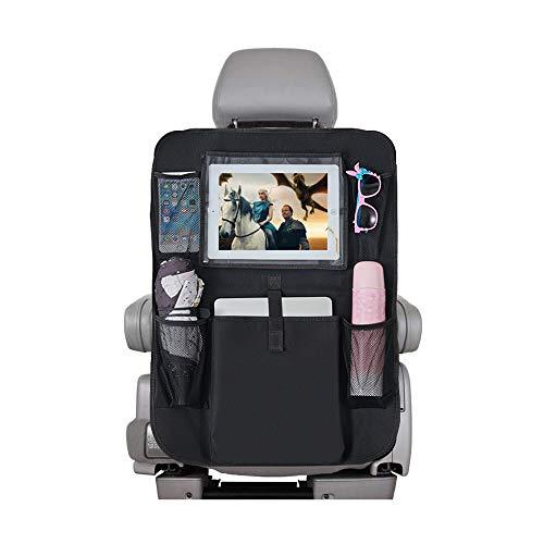 "DSKKWS Backseat Car Organizer, Car seat Protector Kids Kick Mats Storage Bag with 10"" Ipad Holder +5 Pockets for Baby Auto Travel (Black 1 Pack)"