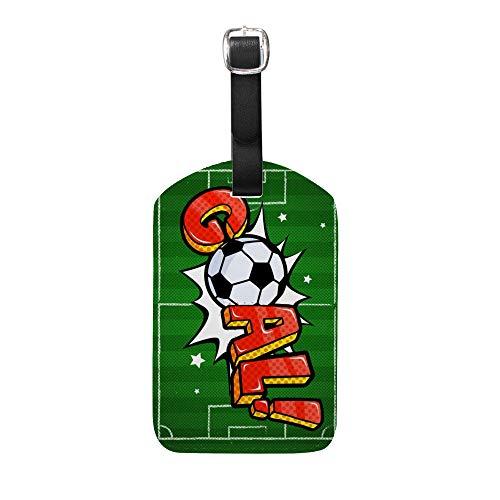 Ruchen Gepäckanhänger-Set, Kofferanhänger, grün, Fußball-Tor, Fußball, PU-Leder Grün grün 1 Stück
