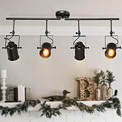 LALUZ 4-Light Adjustable Track Lighting Kit Semi Flush Mount Close to Ceiling Light