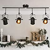 LALUZ Track Lighting Kit Semi Flush Mount Close to Ceiling Fixture with 4 Adjustable Heads, 36.4 inches, Matte Black (4-Light)