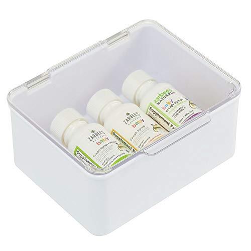 mDesign Caja con tapa para la cocina, la despensa o el despacho – Cajones de plástico sin BPA apilables – Cajas de ordenación compactas para artículos del hogar – blanco/transparente