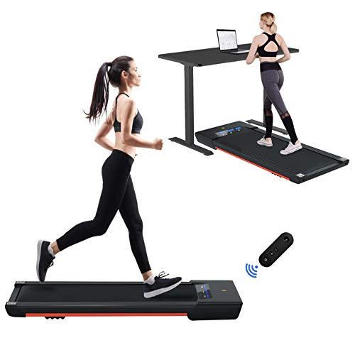Vivitory Under Desk Electric Treadmill, Walking Jogging Flat for Home, 2.25HP Walking Running Machine, Remote Control and LED Display, Portable Treadmill for Home/Office Cardio Fitness
