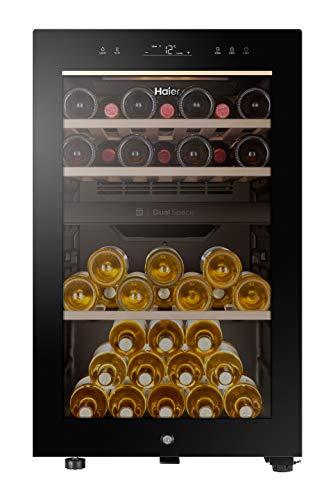 Haier HWS42GDAU1 Series 7 Cantinetta Vino Doppia Temperatura, 42 Bottiglie, Connettività Wi-Fi, Luci a LED e Vetro anti UV, Ripiani in Legno, 37 dBa, Libera Installazione, 47 * 58.5 * 82 cm, Nero