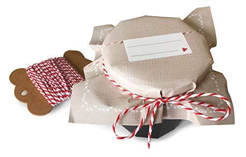 25 Marmeladendeckchen BEIGE als Abreißblock, Gläserdeckchen zum selbst beschriften für Eingemachtes & selbstgemachte Marmelade aus weichem Recyclingpapier + 10m Bakers Twine & Justiergummi