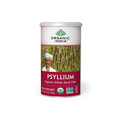 ORGANIC INDIA Whole Husk Psyllium Fiber Supplement, 12-Ounce