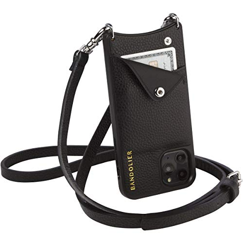 Bandolier Emma Crossbody Phone Case and Wallet - Black Leather with Silver Detail - for iPhone 12 Pro Max