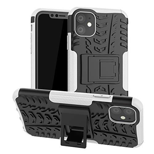 HULDORO Encantador -por con la Textura del neumático del iPhone 11 TPU + PC Funda a Prueba de Golpes con el Titular Carcasa de telefono (Color : White)