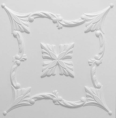 Pannelli Soffitto in Polistirolo Laminato Barok Bianco (Pacco 44 pz / 11 mq)