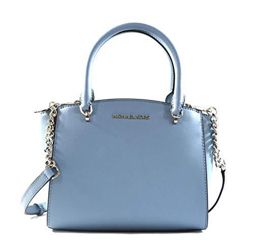 Michael Kors Women's Ellis Small Convertible Leather Satchel Crossbody Bag Purse Handbag (Powder Blue)