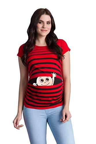 M.M.C. Winke Winke Baby - Lustige witzige süße Umstandsmode gestreiftes Umstandsshirt mit Motiv für die Schwangerschaft Schwangerschaftsshirt, Kurzarm (Rot, Small)