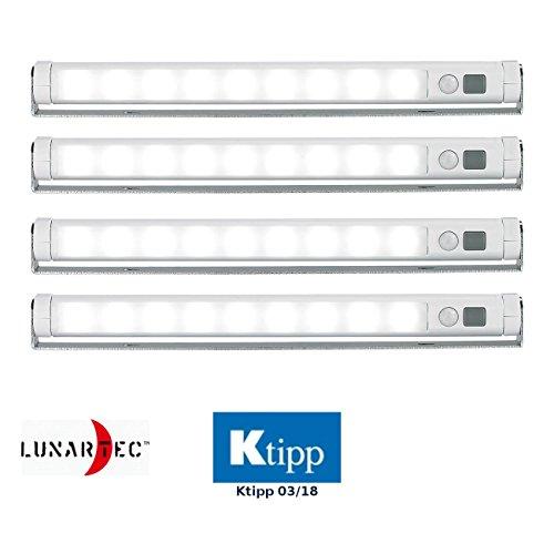 Lunartec LED Streifen ohne Strom: 4er-Set Schwenkbare Lichtleisten, PIR, 9 SMD-LEDs, tageslichtweiß (Lichtleiste zum Kleben)
