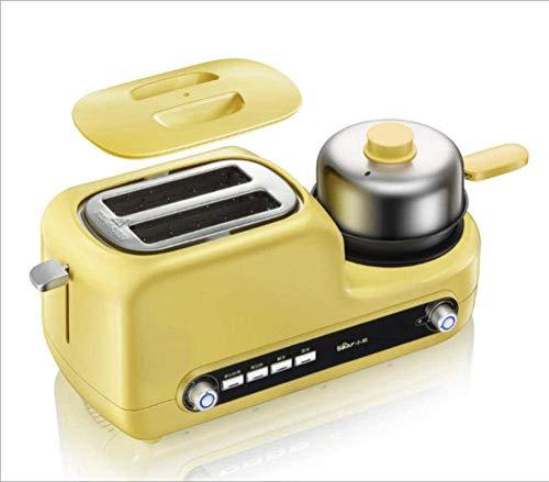 DYB Horno eléctrico Mini tostadora eléctrica de Acero Inoxidable para el hogar Máquina de Desayuno portátil Máquina para Hornear Pan automática Huevos fritos Caldera Sartén