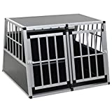 Festnight Jaula de Transporte para Perros de Aluminio con 2 Puertas única 94 x 88 x 69 cm Plateado