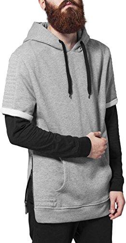 Urban Classics Herren Sweatshirt Kapuzenpulli Short Sleeve Side Zipped Hoody grau (Grau) Small