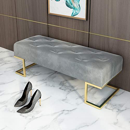 Otomana capitoné de terciopelo con base de metal, mesa de centro de microfibra con ruedas, marco dorado de acero inoxidable, reposapiés cojín blando tapizado en la entrada de la sala de estar, dormito