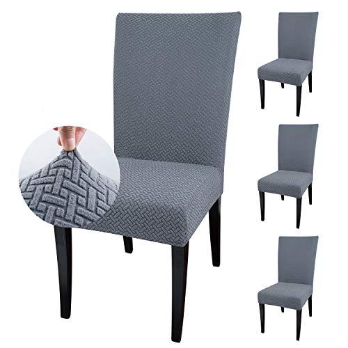 Qishare - Paquete de 4 Fundas para sillas de Comedor, Fundas para sillas de Comedor, Hotel, Ceremonia, Boda(Gris)