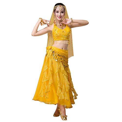 Xinvivion Mujeres Indio Danza Disfraz - Damas Vestido de Danza del Vientre Árabe Carnaval Halloween Actuación Traje
