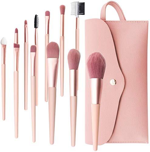 Makeup Pinsel, BenRich 12 Stück Make-up Pinselset Premium Synthetischer für Foundation Lidschatten Augenbrauen Concealer Blush Kosmetikpinsel Kit mit PU Ledertasche Rosa