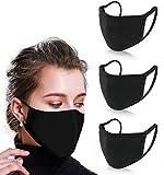 Sacrifice Now Masque Tissu lavable 2 Layer 100% Coton Masque Unisexe Masques Tissus Reutilisables Pour Adultes, Hommes et Femmes (Noir - Lot de 3) (Noir)