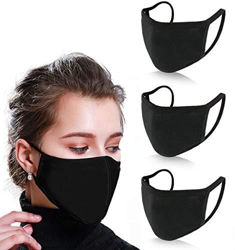 100% Baumwolle Stoffmaske Waschbar 2 Schichten Unisex Gesichtstuch Masken Wiederverwendbar für Erwachsene Kinder Kinder Männer Frauen (Schwarz - 3 Stück