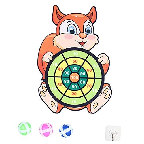 SM SunniMix Tablero de Dardos de Bola Adhesiva de Objetivo de Juguete clásico con Gancho 3 Bolas Actividad Familiar Creativa para Interiores Juegos de Navidad de - Ardilla