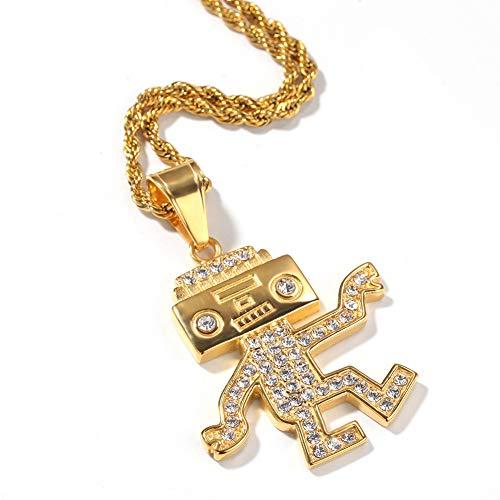 LRKZ Hip Hop pour Homme Iced Out Cuivre Plaqué Or Cartoon Danse Robot Simulé Diamant Pendentif Collier Fait Main avec avec 24'Corde Chaîne,d'or