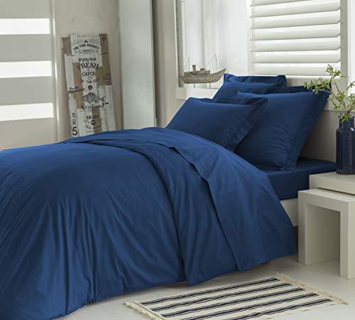 ELENA PARIS - Parure Housse de Couette 240x260 cm avec 2 taies d'oreillers 64x64 cm 100% Coton Percale 78 Fils - Couleur Bleu
