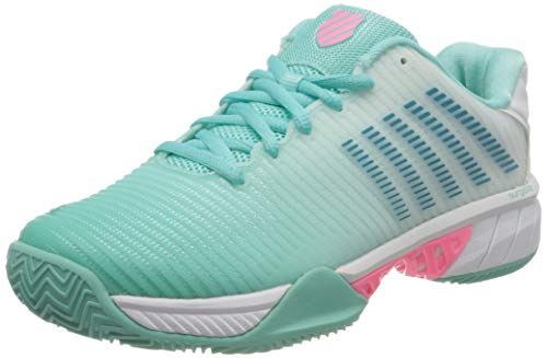 Dunlop Herren Hypercourt Express 2 HB Sneaker, Aruba Blue/White/Soft Neon Pink, 42 EU