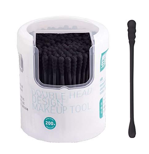 Poignées de bâton de papier de coton-tampons pour le soin propre de maquillage, 200pcs, noir