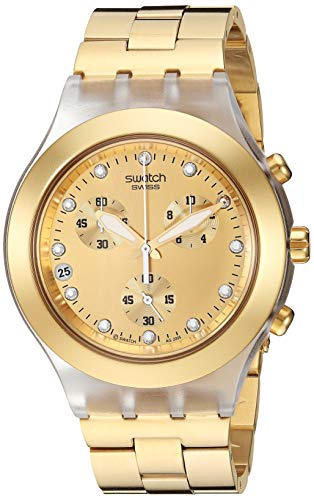 Swatch Core Collection Full-Blooded SVCK4032G - Reloj Unisex de Cuarzo, Correa de Acero Inoxidable Color Oro (con cronómetro)