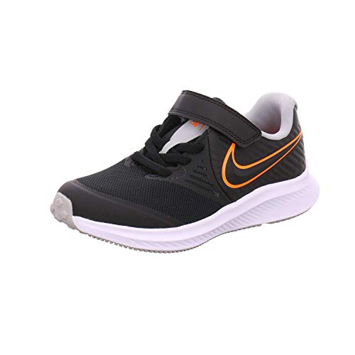 Nike Star Runner 2 (PSV), Sneaker, Negro/Total Orange-Blanco-Lt Smoke Grey, 29.5 EU