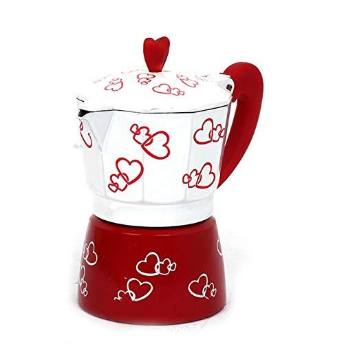 FDT112. Neue rote Herz und achteckige Druck italienische Art Moka Pot Handtopf Filtertopf Aluminium Haushaltskaffeekanne (Color : Red, Size : 3-Cup)