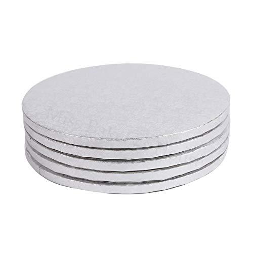 Miss Bakery's House - Tortenunterlage - Cake Drum - 30cm breit- Silber - 4 Stück - Tortenuntersetzer - goldene Folienbeschichtung - Hohe Qualität - Robustes Material - Deutsche Marke