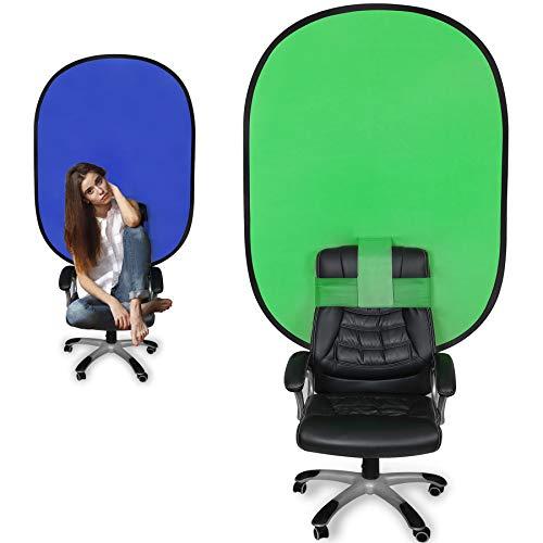 LTRINGYS Chromakey Hintergründe Green Screen Blau Screen Chair für Fotostudios 120 x180cm ,Chromakey Stuhl Pop-up Greenscreen 2-in-1 Hintergrund mit blauem Bildschirm für Zoom Streaming