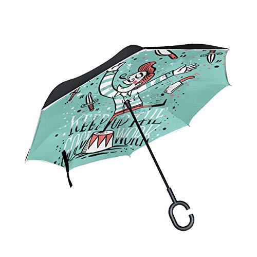 LINDATOP Doble capa invertida inversa paraguas cuchillo malabarista chico a prueba de viento coche lluvia exterior C-shapped mango