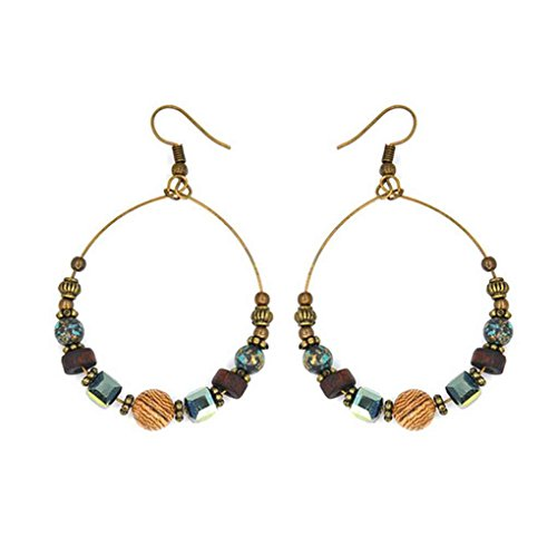 Mingtongli 1 par de pendientes de cristal de Bohemia de las mujeres pendientes de gota de la vendimia de Boho de Turquía joyería étnica