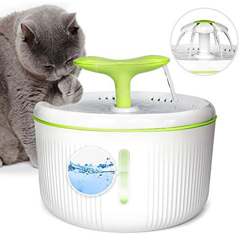 YOUTHINK 2-Liter-Trinkbrunnen, automatischer Katzen-Trinkbrunnen, besonders leiser Sojabohnensprossenbrunnen, Trinkbrunnen mit LED-Licht für Hunde und Katzen (1 Aktivkohlefilter 1 Blume 1 Sprosse)